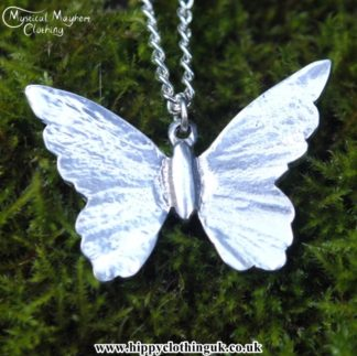 Handmade English Pewter Butterfly Pendant, Necklace