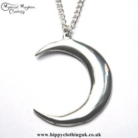 Handmade English Pewter Crescent Moon Pendant, Necklace