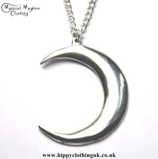 Handmade English Pewter Crescent Moon Pendant, Necklace