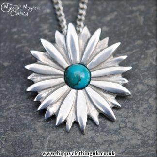 Handmade English Pewter Daisy Flower Pendant, Necklace with Turquoise Gem