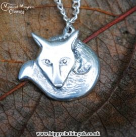 Handmade English Pewter Fox Pendant, Necklace