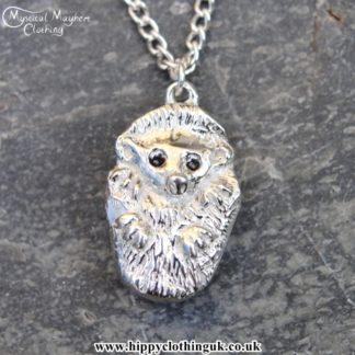 Handmade English Pewter Hedgehog Pendant, Necklace