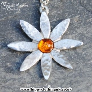 Handmade English Pewter Lily Flower Pendant, Necklace with Amber Gem Stone