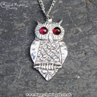 Handmade English Pewter Owl Pendant, Necklace with Garnet Gem