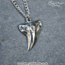 Handmade English Pewter Shark Tooth Pendant, Necklace