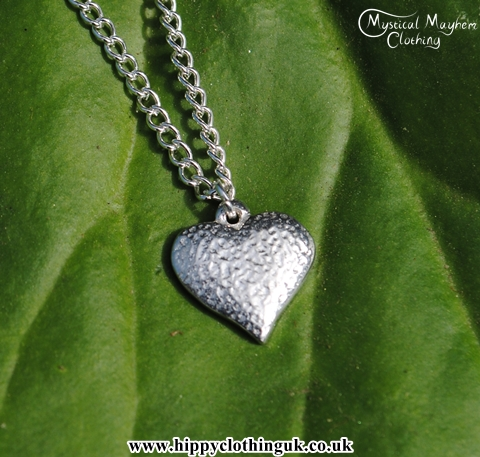 Handmade English Pewter Small Textured Heart Pendant, Necklace