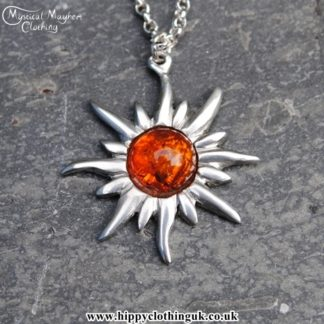 Handmade English Pewter Sun Pendant, Necklace with Amber Gem Stone