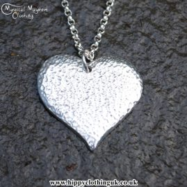 Handmade English Pewter Textured Heart Pendant, Necklace