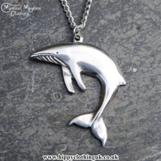 Handmade English Pewter Whale Pendant, Necklace