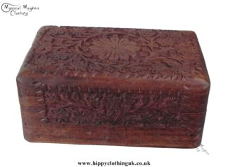 Medium Kashmiri Style Hand Carved Indian Box Side View