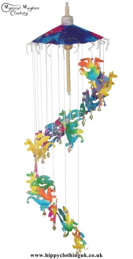 Multicolour Dragon Saa Paper Hippy Mobile with Bells