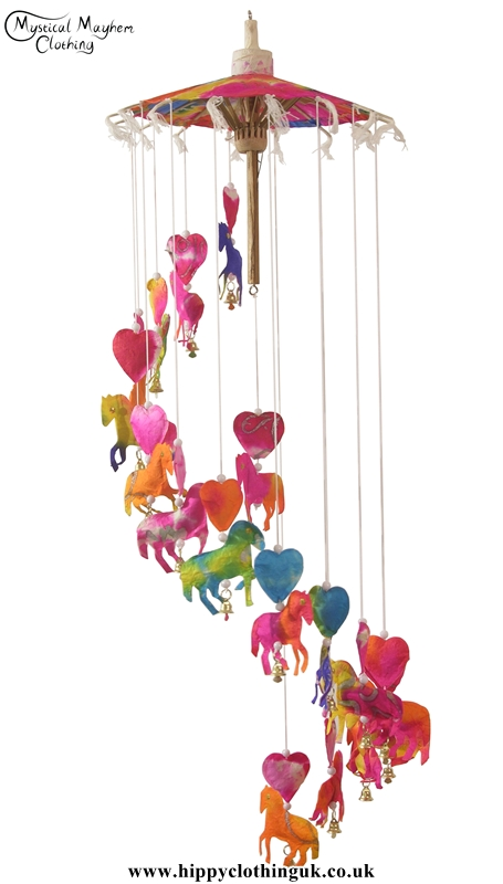 Multicolour Horse Saa Paper Hippy Mobile with Bells