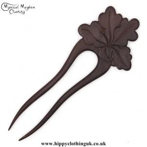 Oak Leaf wooden hippy Hair Fork