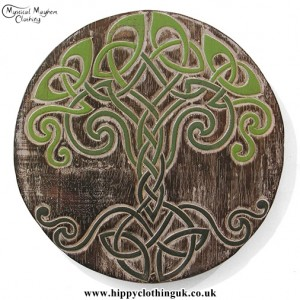 Round Celtic Tree of Life Handmade Wooden Plaque