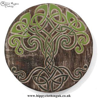 Round Celtic Tree of Life Handmade Wooden Plaque