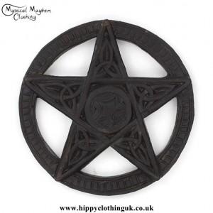 Round Hand Carved Wooden Pentagram