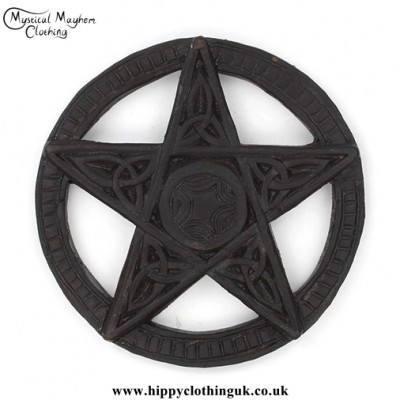 Round Hand Carved Wooden Pentagram