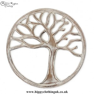 Round White Handmade Wooden Tree of Life Plaque