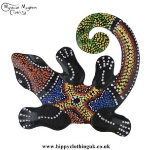 Small Colourful Curly Wooden Gecko Plaque
