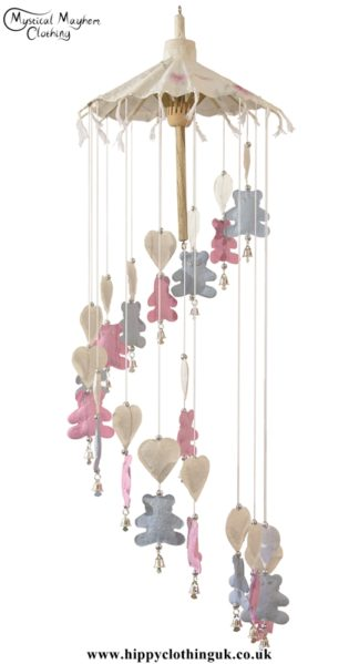 Teddy Bear Saa Paper Hippy Mobile with Bells