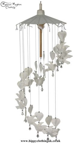 White Dove and Heart Saa Paper Hippy Mobile with Bells