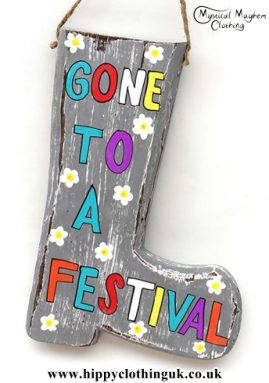 'gone to the festival' Handmade Wooden Plaque