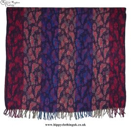 Butterfly Pattern Acrylic Hippy Festival Blanket Red, Black, Turquoise