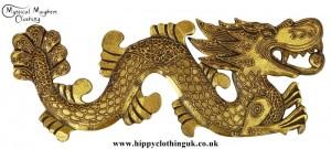 Golden Dragon Handmade Wooden Plaque Right Facing