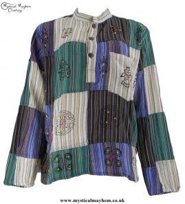 Gringo Cotton Patchwork Hippy Festival Grandad Shirt