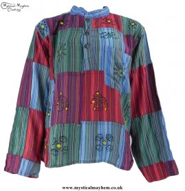 Gringo Cotton Patchwork Hippy Festival Grandad Shirt