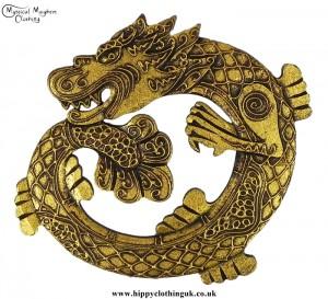 Handmade Round Golden Dragon Wooden Plaque