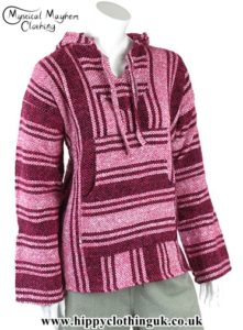 Mexican Jerga Baja Hooded Hippy Festival Top Pink