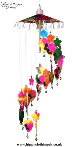 Multicolour Skull and Heart Saa Paper Hippy Mobile with Bells