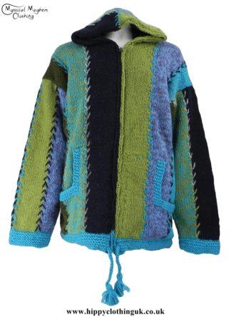 Turquoise Nepelase Fleece Lined Wool Jacket Unisex