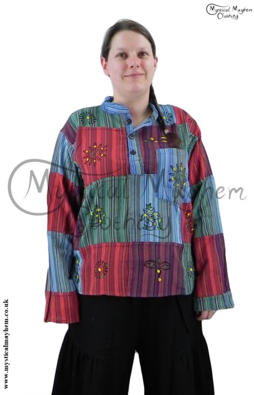 grandad female patchwork hippy shirt