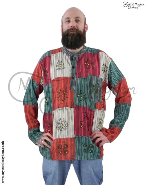 grandad male patchwork hippy shirt