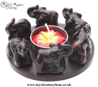 Circle of Elephants Resin T-Light Candle Holder