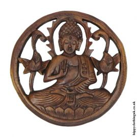 Hand-Carved-Round-Wooden-Buddha-Plaque-1