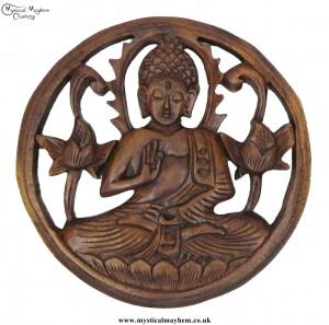 Hand Carved Round Wooden Buddha Plaque
