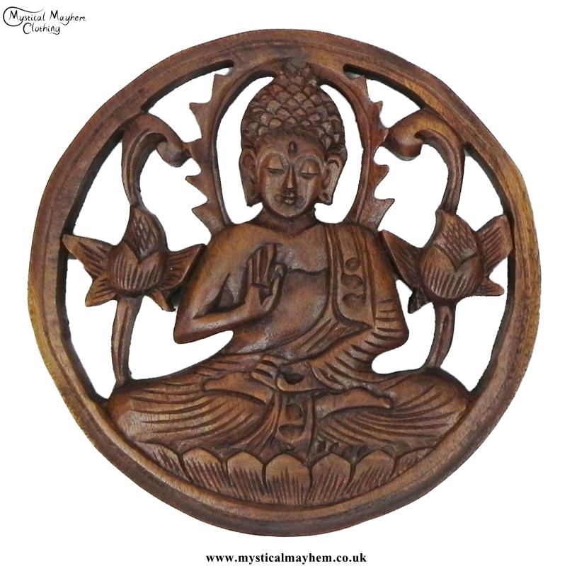 round carved meditating buddha handmade wooden hanging