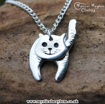 Handmade English Pewter Cat Pendant, Necklace