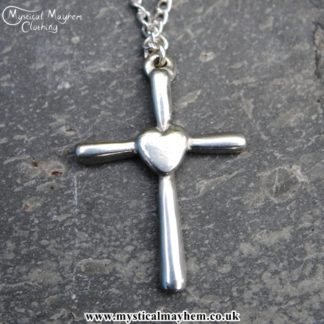 Handmade English Pewter Heart Cross Pendant, Necklace