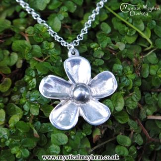 Handmade English Pewter Pansy Flower Pendant, Necklace