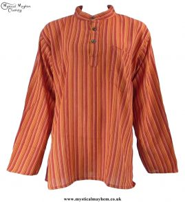 Neaplese Cotton Striped Grandad Shirt Orange