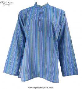 Neaplese Cotton Striped Grandad Shirt Turquoise
