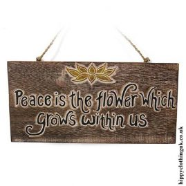 'Peace-is-the-flower-which-grows-within-us'-Handmade-Wooden-Plaque