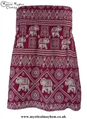 Short Thai Elephant Hippy Mini Skirt Burgundy Red
