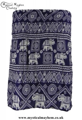 Short Thai Elephant Hippy Mini Skirt Dark Blue