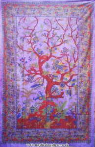 Single Sized Tree of Life cotton Throw, Bed Spread Purple