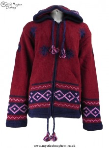 Burgundy Nepalese Style Pixie Hooded Hippy Wool Jacket